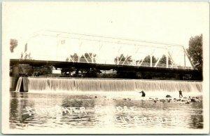 1920s BEATRICE, Nebraska RPPC Real Photo Postcard BLUE RIVER BRIDGE Fishing