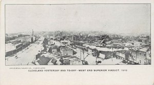 LPS89 CLEVELAND Ohio Aerial Town View West End Superior Viaduct Postcard