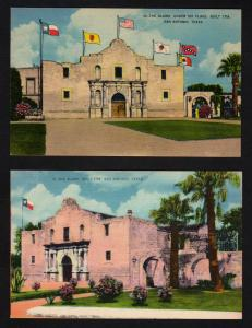 TX Lot 2 Alamo Postcards Flags San Antonio Texas Postcards Postcard