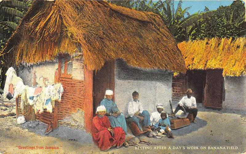 Kingston Jamaica Banana Field Workers Resting Postcard