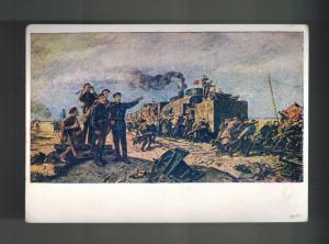 Mint 1941 USSR Soviet Union Postcard Joseph Stalin 1918 Revolution Train Attack