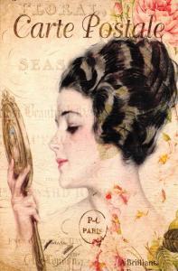Postcard French Vintage Shabby Chic Style, Fashion Hair Lady Vanity Mirror 94J