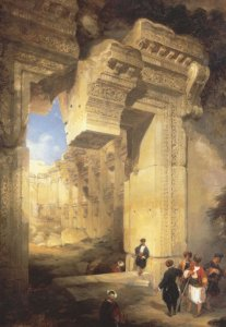 David Roberts The Gateway To The Great Temple At Baalbec Postcard