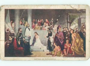 1907 Native Indian BAPTISM OF POCAHONTAS IN JAMESTOWN VIRGINIA VA AC4306