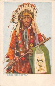 F66/ Native American Indian Postcard c1910 Chief Skin Cote Glitter Pipe 5