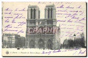 Postcard Old Paris Facade of Notre Dame
