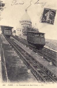 Postcard Vintage PARIS Le Funiculaire du Sacre-Coeur French Reproduction (1909)