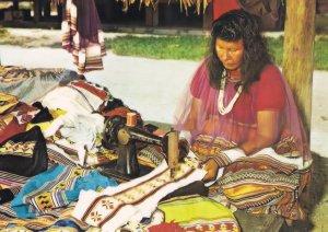 Florida Everglade Indian Family Dressmaker Sewing Postcard