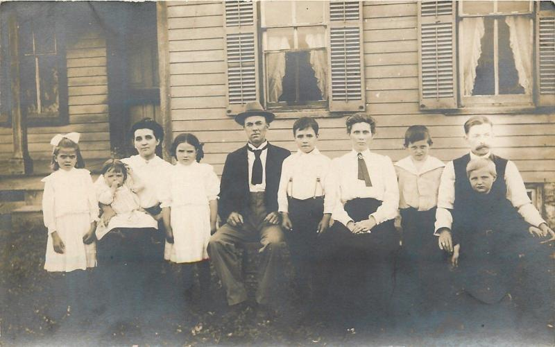 Vintage Real Photo Postcard~Family Portrait~Outside Home~Sunday Best~1908 RPPC