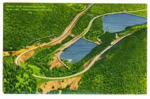 Aerial View Horseshoe Curve Pennsylvania Railroad unused PPC