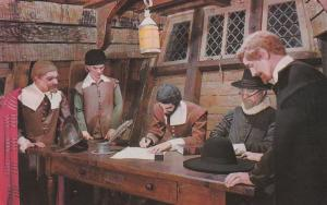 Signing the Maflower Compact - Plymouth MA, Massachusetts
