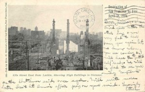 Ellis Street from Larkin, San Francisco 1906 Earthquake/Fire Vintage Postcard