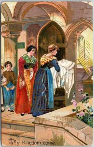 1910s THE LORD'S PRAYER Embossed Religious Postcard Thy Kingdom Come / Unused