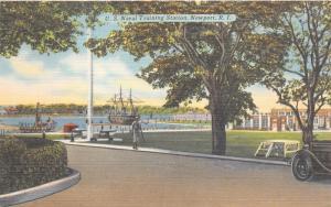 Newport Rhode Island~US Naval Station~Ships in Water~1954 Linen Postcard