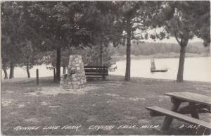 Michigan MI Real Photo RPPC Postcard 1948 CRYSTAL FALLS Runkle Lake PArk Dock