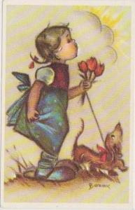 BONNIE: Little Folks Sketch Series: Girl Carrying Bouquet of Tulips Walking Dog