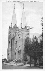 Rice Lake Wisconsin St Josephs Catholic Church Antique Postcard K15465