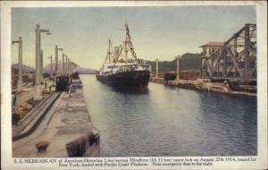 SS Nebraskan American-Hawaiian Line Miraflores Locks Panama Postcard