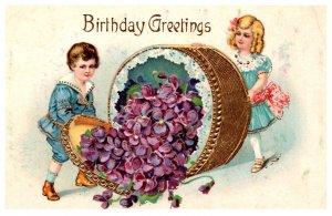 Children , Birthday ,Victorian Children , hat box of flowers
