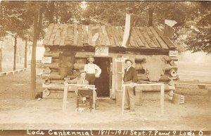 F70/ Lodi Ohio RPPC Postcard Medina Co 1911 Log Cabin Home Coming 7