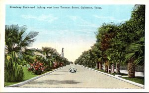 Texas Galveston Broadway Boulevard Looking West From Tremont Street
