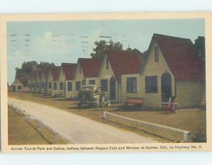 1940's OLD CAR AT TOURIST PARK CABINS MOTEL Aylmer - Near St. Thomas ON c4129