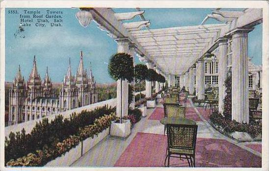 Utah Salt Lake City Temple Towers From Roof Garden Hotel Utah 1933