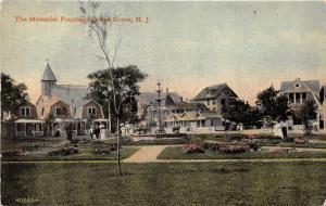 Ocean Grove New Jersey~Memorial Fountain @ Park~Lady with Umbrella~c1910 PC