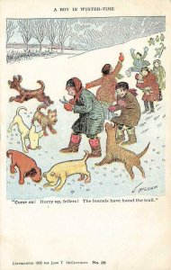 Boy in Winter-Time, Dogs McCutcheon Artist Signed Comic 1903 Vintage Postcard