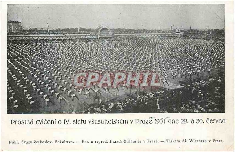 Postcard Old Nakl Svazu Ceskoslov Sokolstva Prostna Cvicenio IV Sletu Vsesoko...