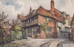 The Mermaid Inn Rye Sussex Antique WW1 1916 Pub Painting Drawing Postcard