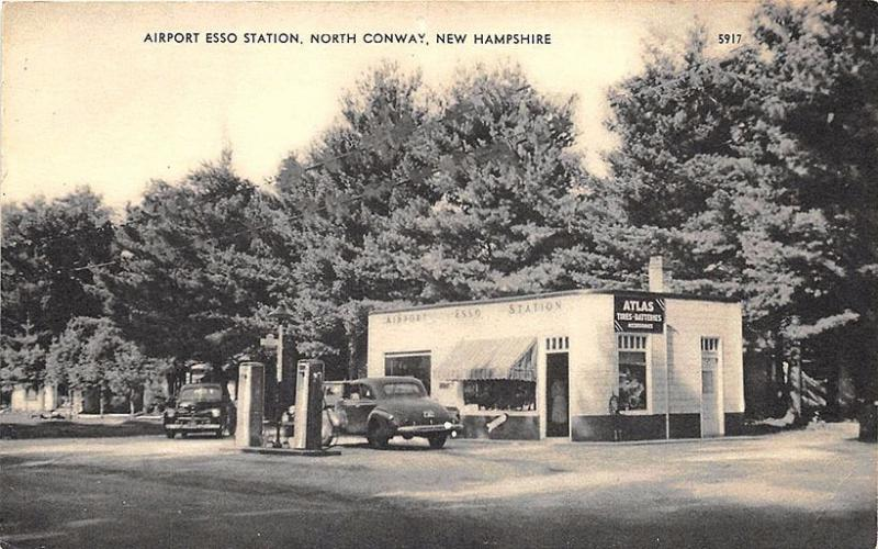 North Conway NH Airport Esso Gas Station Old Cars Postcard