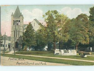 Divided-Back CHURCH & PARK SCENE Pontiac Michigan MI r8036