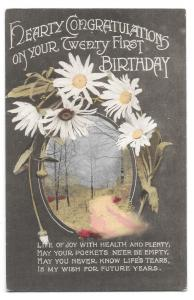 Vintage Hearty Congratulations on Your 21st Birthday Card, Early 20th c