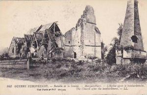 The Church After The Bombardment, Bataille De La Somme, Guerre Europeenne, Fr...