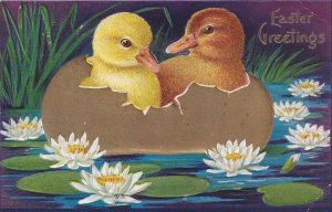AS: EASTER, 1900-10s; Greetings, Two Ducklings in Gold Egg shell flowting in ...