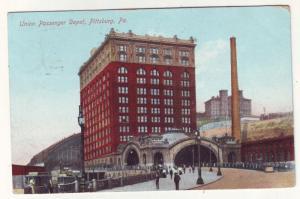 P202 JLs 1908 postcard union passenger depot pittsburg pa