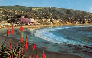 Laguna Beach California birds eye view beach shore line vintage pc Z12966