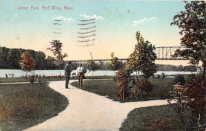 Red Wing Minnesota~Levee Park~Men on Pathway~Mississippi River Bridge~1909 Pc