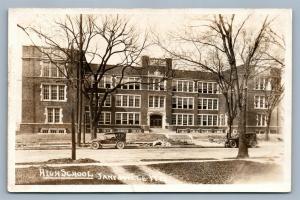JANESVILLE WI HIGH SCHOOL ANTIQUE REAL PHOTO POSTCARD RPPC