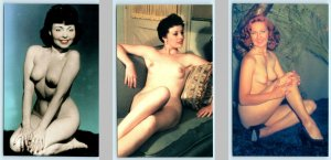 3 Postcards Vintage Classic Pin-ups RISQUE, NUDES #204, #266 #207
