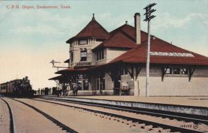 C. P. R. Depot, Station & Train On Railroad Tracks, Saskatoon, Saskatchewan, ...
