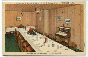 Younker's Department Store Fine Dining Room Interior Chicago Illinois postcard