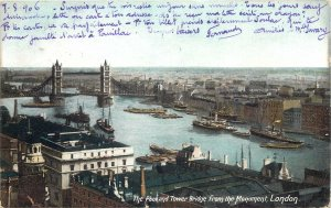 Postcard England London The Pool and Tower Bridge from the Monument