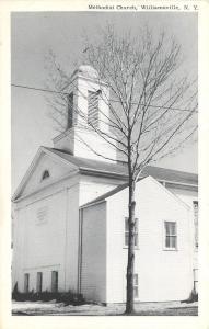 Williamsville New York~Methodist Church~1960s B&W Postcard