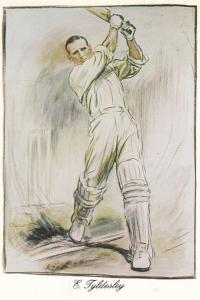 Ernest Tyledesley Lancashire Cricket Rare Painting Victory History Postcard