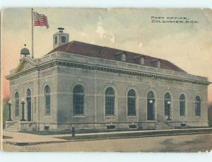 Surface Wear Divided Back POST OFFICE SCENE Coldwater Michigan MI hs1816