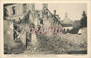 Old Postcard Senlis houses destroyed by shells Army