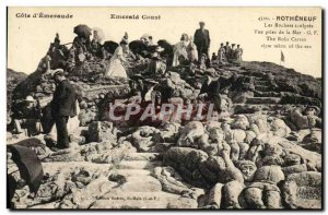Old Postcard The Rocks Rotheneuf Sculptes taking sea view