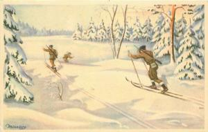 Artist impression 1940s WW2 Military Soldiers Skiing Winter Snow Postcard 3325